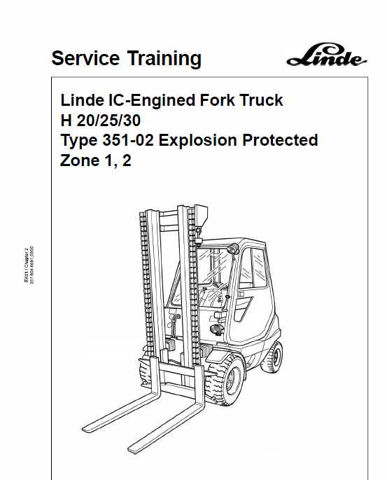 Linde Type 351 LPG Forklift Truck: H20, H25, H30, H35 Service Training Manual
