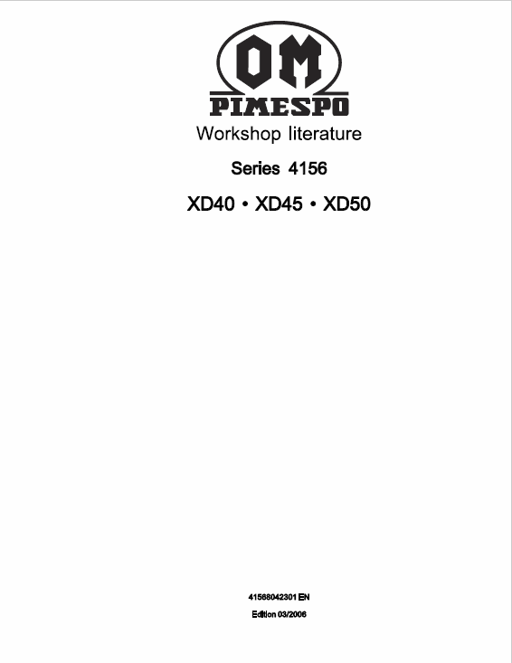 OM Pimespo XD40, XD45 and XD50 Forklift Workshop Manual