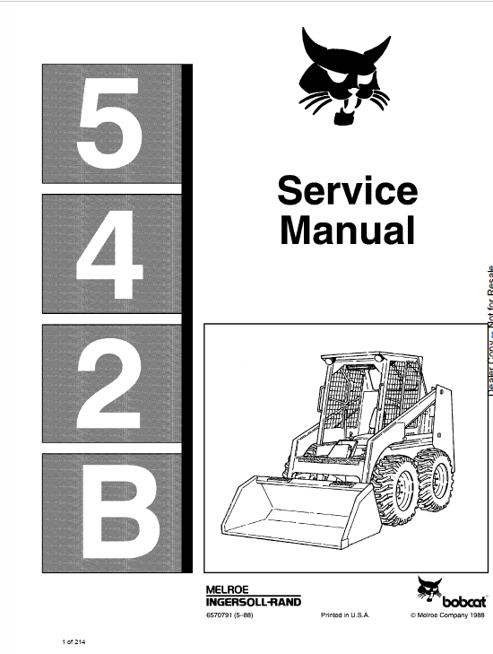 Bobcat 542B Skid-Steer Loader Service Manual