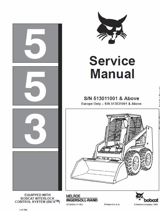 Bobcat 553 Skid-Steer Loader Service Manual