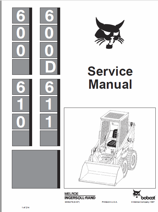 Bobcat 600, 600D, 610 and 611 Skid-Steer Loader Service Manual