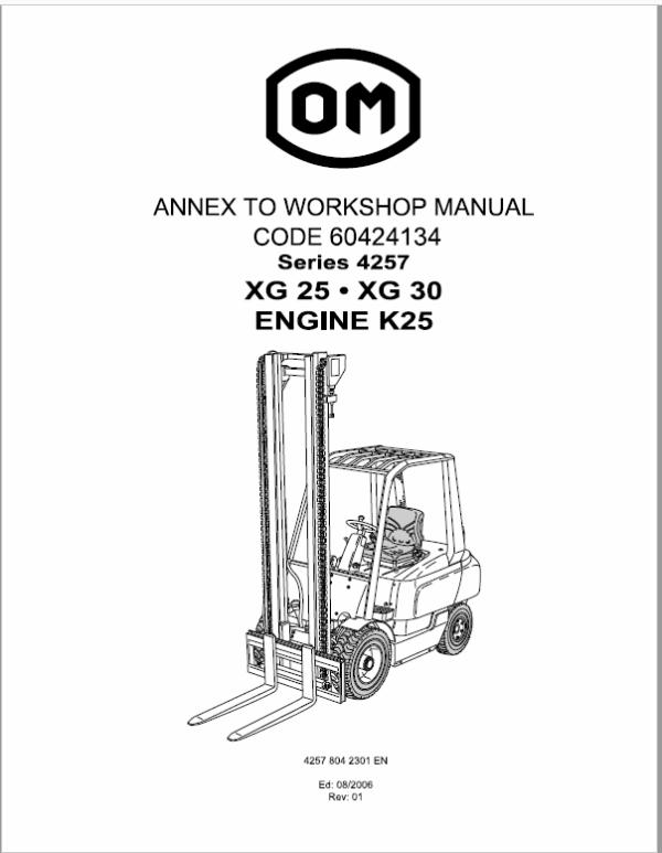 OM Pimespo XG25 and XG30 Forklift Repair Workshop Manual
