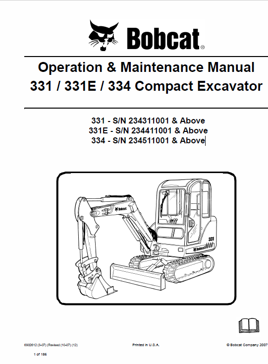 Bobcat 331, 331E and 334 Excavator Service Manual