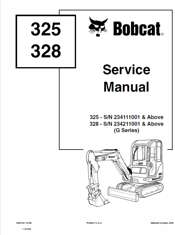 Bobcat 325 and 328 Compact Excavator Service Manual