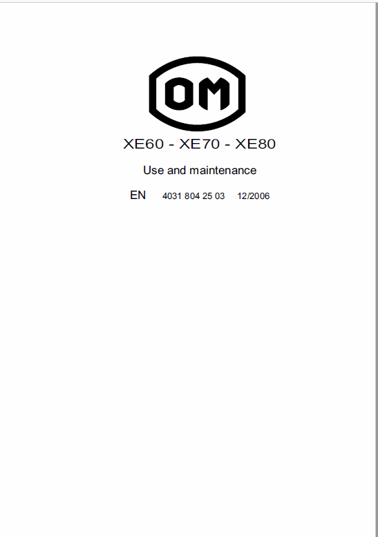 OM Pimespo XE60, XE70 and XE80 Forklift Workshop Manual