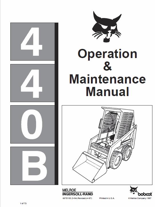 Bobcat 440, 443 and 443B Skid-Steer Loader Service Manual