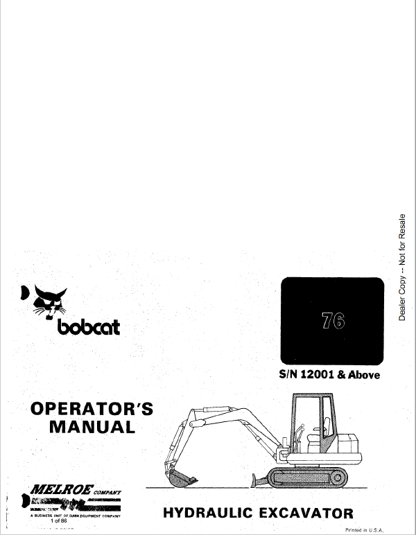 Bobcat X56 and X76 Excavator Service Manual