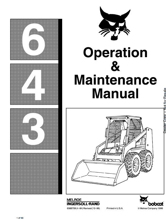 Bobcat 641, 642 and 643 Skid-Steer Loader Service Manual