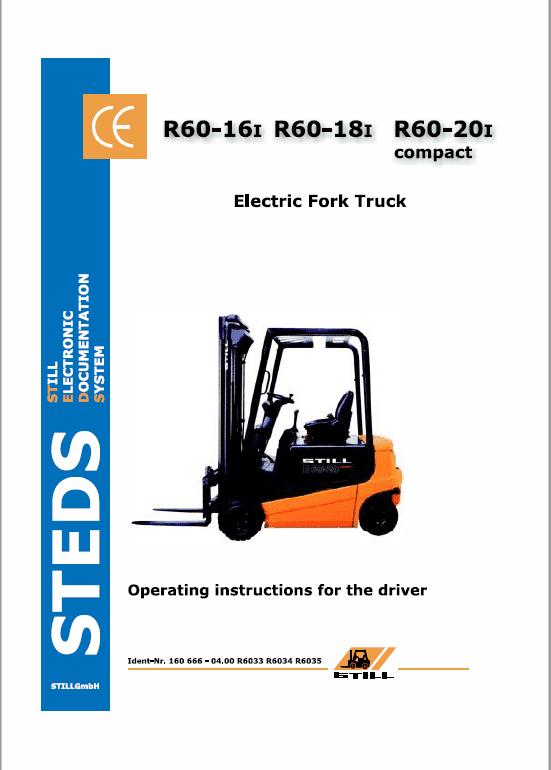 Still Electric Fork Truck R60-16 R60-18 R60-20 Workshop Repair Manual