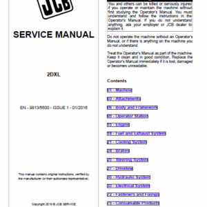 JCB 2DXL Backhoe Loader Service Manual