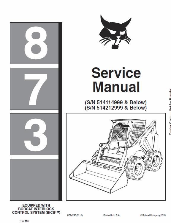 Bobcat 873 Skid-Steer Loader Service Manual