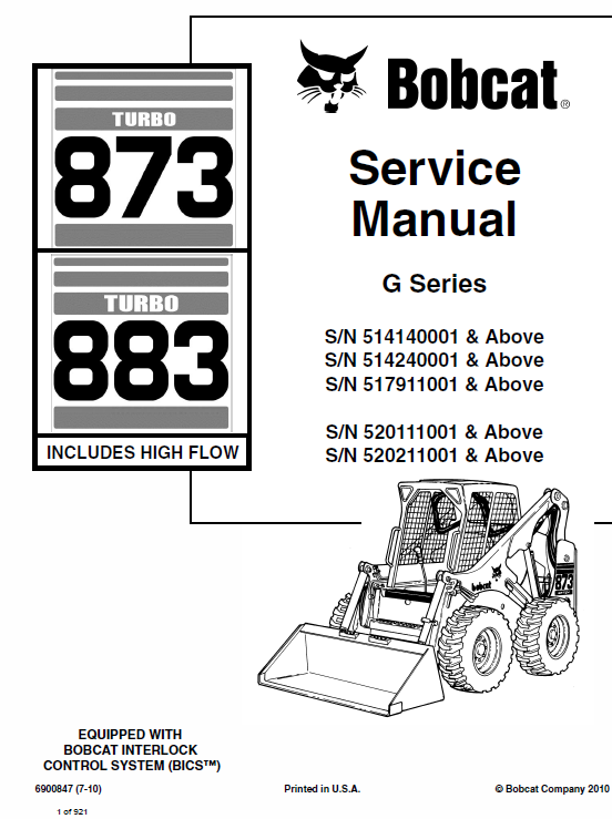 Bobcat 873 and 883 G-Series Skid-Steer Loader Manual