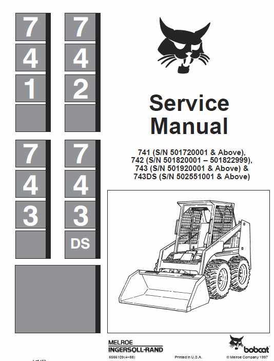Bobcat 741, 742, 743ds and 743 Skid-Steer Loader manual