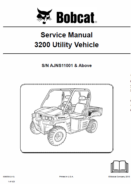 Bobcat 3200 Utility Vehicle Schematics, Operating and Service Manual