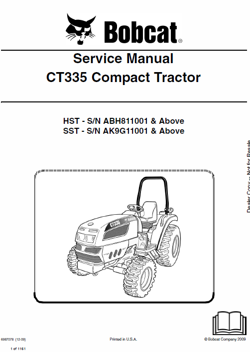 Bobcat CT335 Compact Tractor Service Manual
