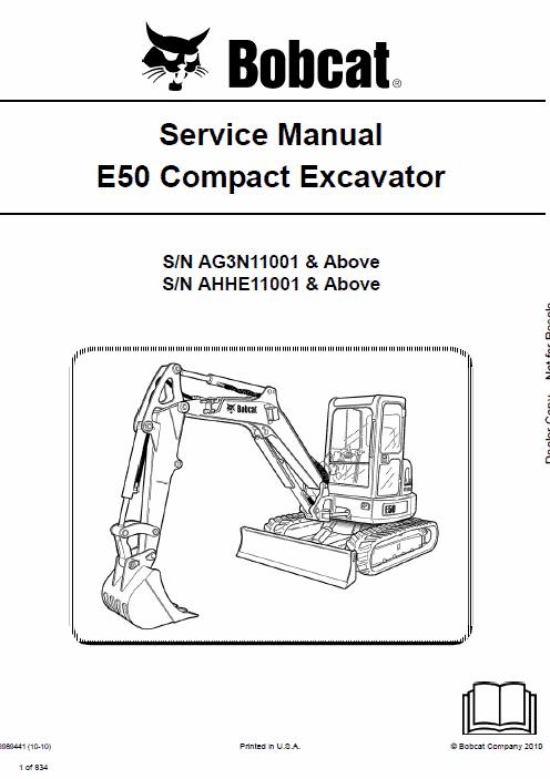 Bobcat E50 Compact Excavator Service Manual