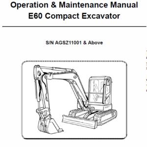 Bobcat E60 Compact Excavator Repair Service Manual