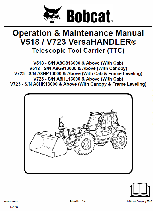Bobcat V723 VersaHANDLER Telescopic Service Manual