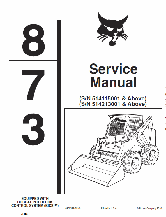 Bobcat 873 Skid-Steer Loader Manual