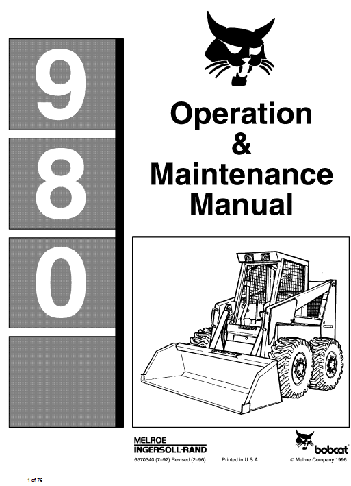 Bobcat 980 Skid-Steer Loader Service Manual