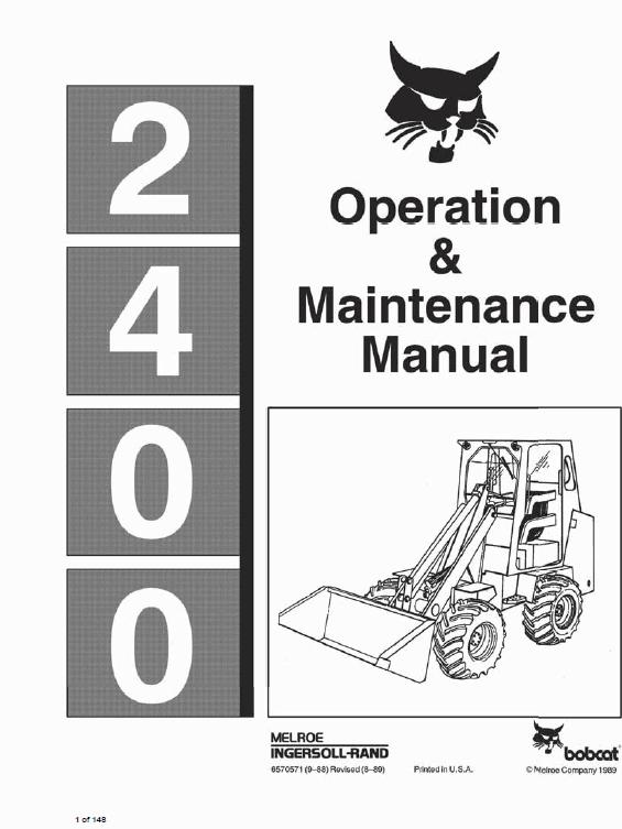 Bobcat 2400 Loader Service Manual