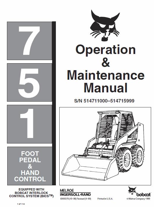 Bobcat 751 Skid-Steer Loader Service Manual