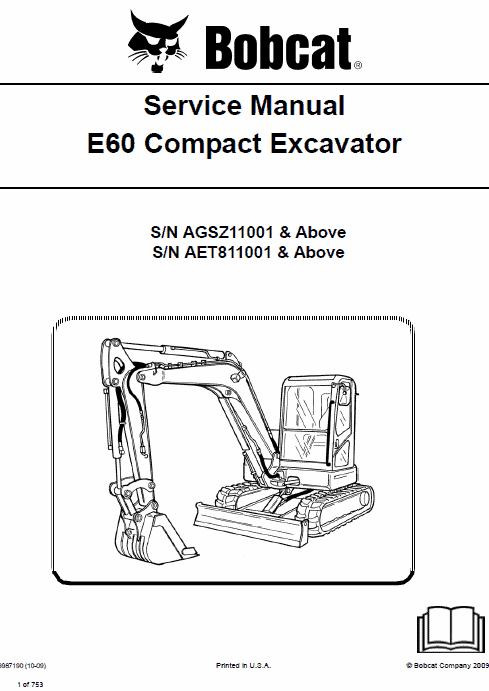 Bobcat E60 Compact Excavator Service Manual