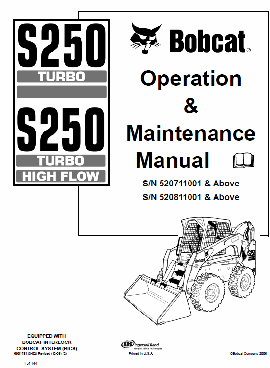 Bobcat S250 and S300 Turbo Skid-Steer Loader Service Manual