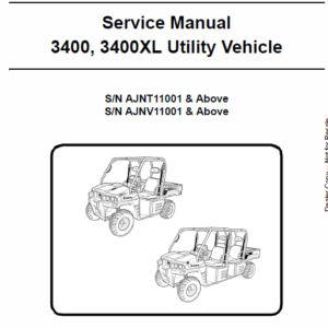 Bobcat 3400, 3400XL Utility Vehicle Service Manual