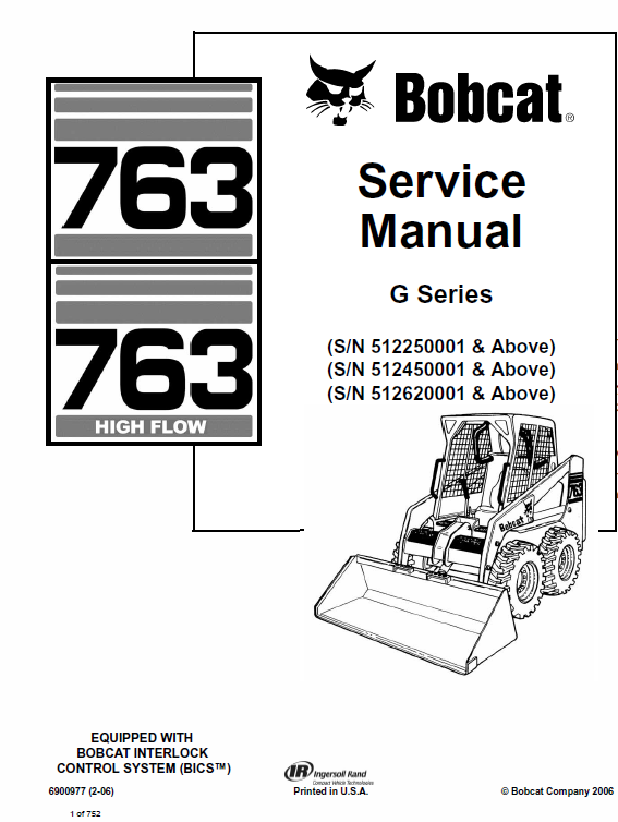 Bobcat 763 G-Series Skid-Steer Loader Service Manual
