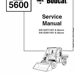 Bobcat 5600 Toolcat Utility Vehicle Schematics, Operating and Service Manual