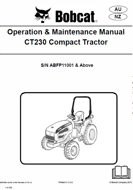 Bobcat CT225, CT230 and CT235 Compact Tractor Service Manual