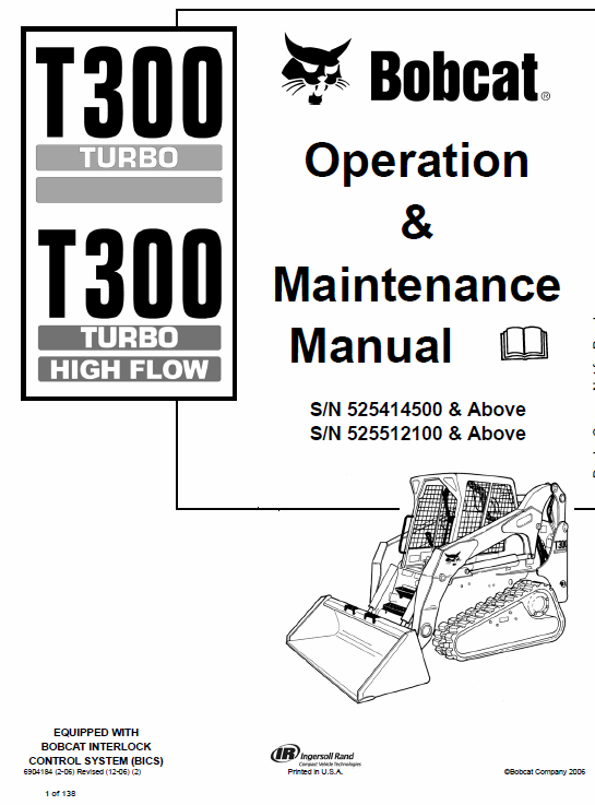 Bobcat T300 Turbo, T300 Turbo High Flow Service Manual