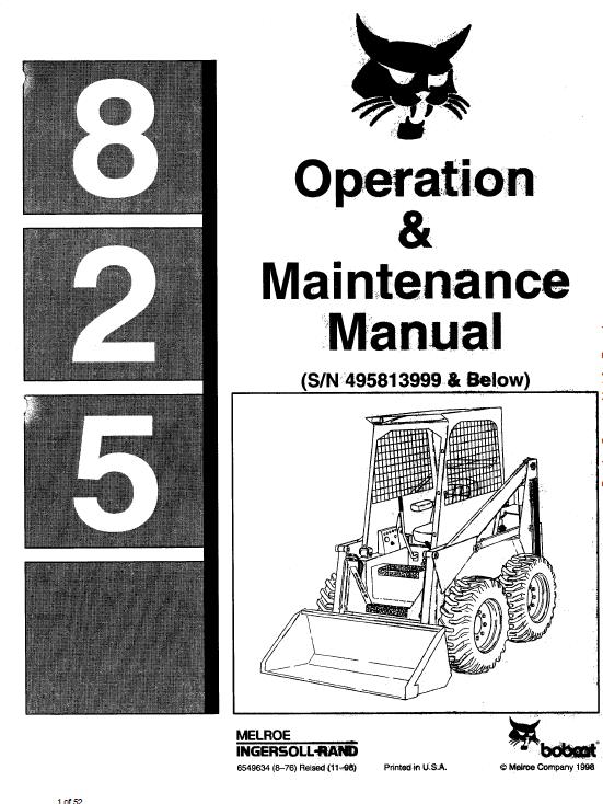 Bobcat 825 Skid-Steer Loader Service Manual