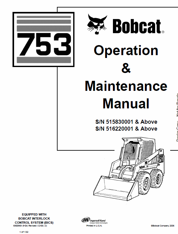 Bobcat 753 G-Series Skid-Steer Loader Service Manual