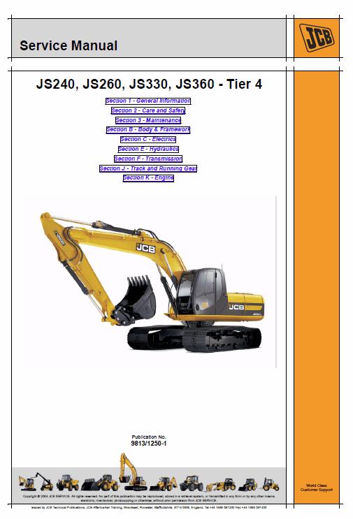 Jcb Js240, Js260, Js330, Js360 Tier 4 Tracked Excavator Service Manual