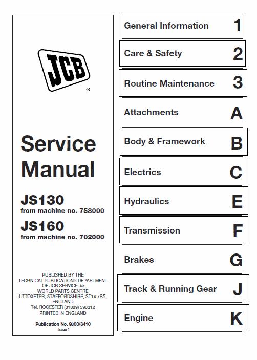 JCB JS130, JS160 Tracked Excavator Service Manual