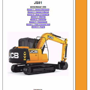 Jcb Js81 Tracked Excavator Service Manual