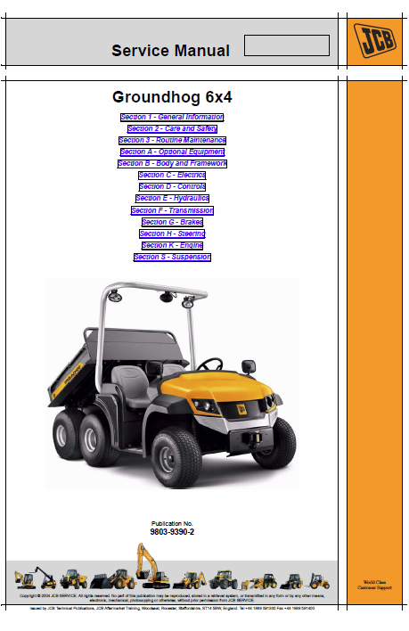 JCB Groundhog 6x4 Utility Vehicle Service Manual