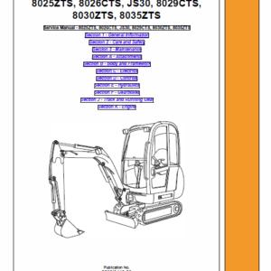 JCB 8025ZTS, 8026CTS, JS30, 8029CTS Mini Excavator Service Manual