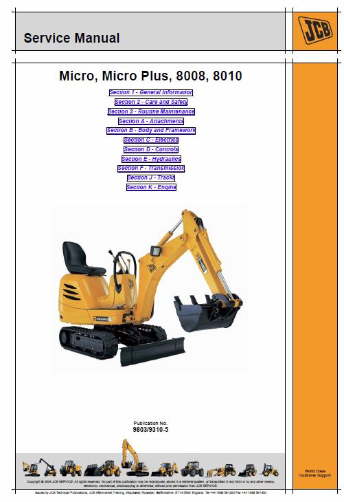 JCB 8008, 8010 Micro, Micro Plus Excavator Service Manual