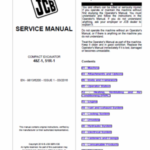 JCB 48Z-1, 51R-1 Compact Excavator Service Manual