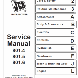 JCB 801.4, 801.5, 801.6 Mini Excavator Service Manual