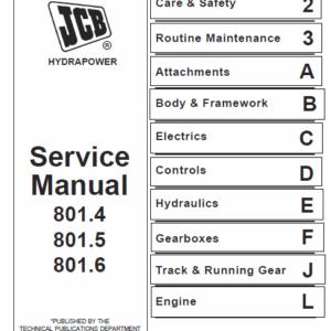 JCB 801.4, 801.5, 801.6 Mini Excavator Service Manual