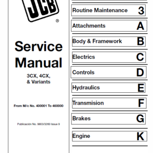 JCB 3CX, 4CX Backhoe Loader Service Manual