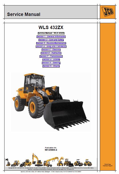 JCB 432ZX Wheeled Loader Shovel Service Manual