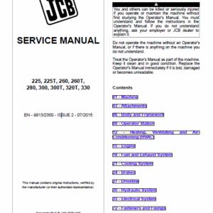 JCB 225 225T, 260, 260T, 280, 300, 300T, 320T, 325T, 330 SkidSteer Service Manual