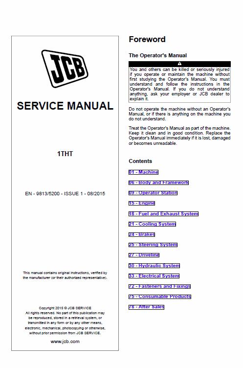 Jcb 1tht Site Dumper Thwaites Service Manual