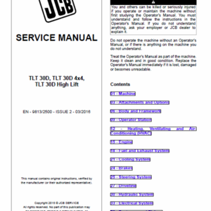 JCB TLT 30D, TLT 30D 4x4, TLT 30D High Lift Teletruck Service Manual