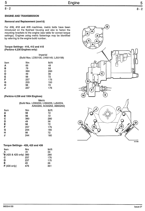 JCB 410, 412, 415, 420, 425, 430 Wheeled Loader Service Manual